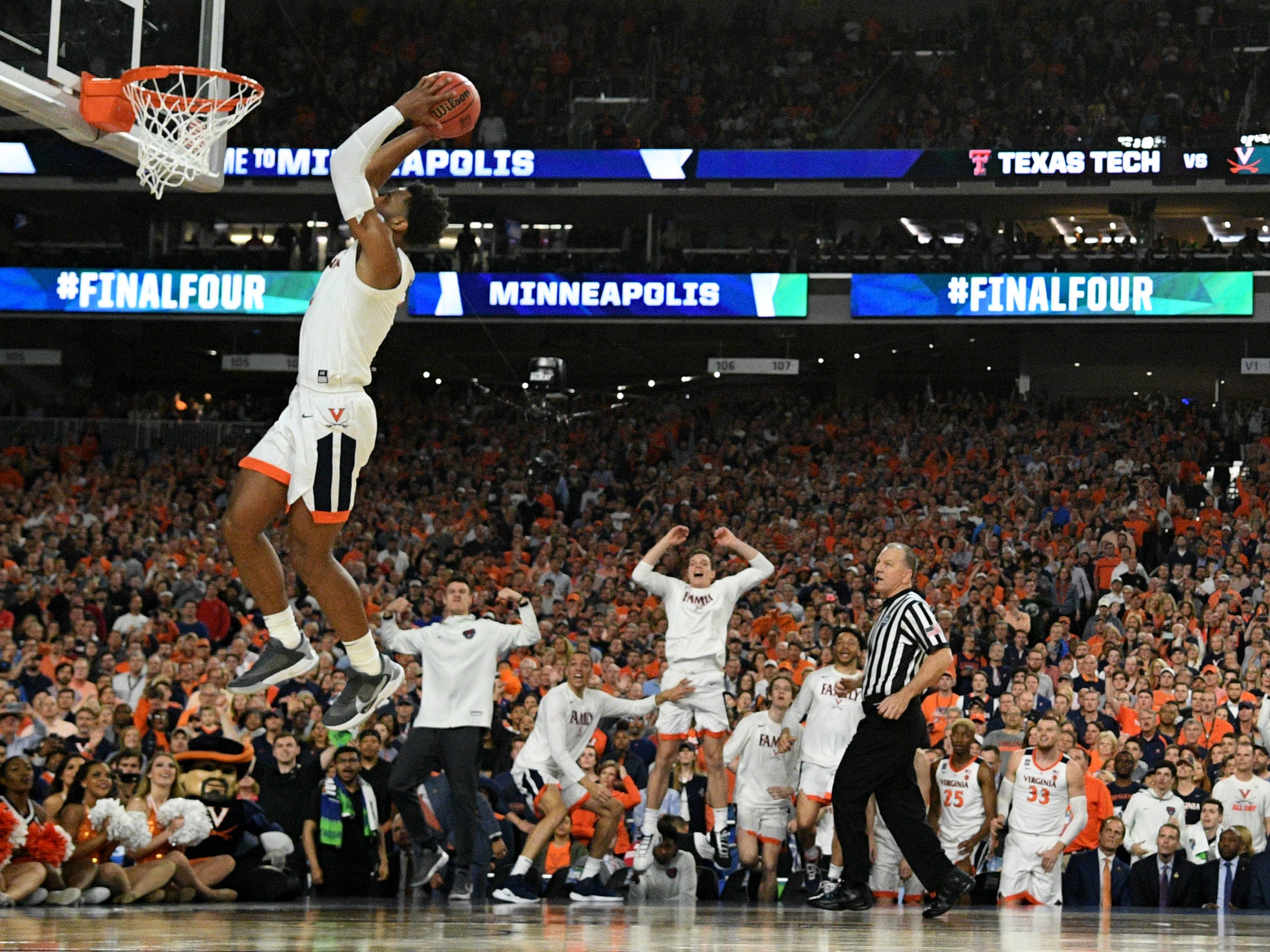 Virginia's Braxton Key dunks the ball against Texas Tech in overtime in the championship game.