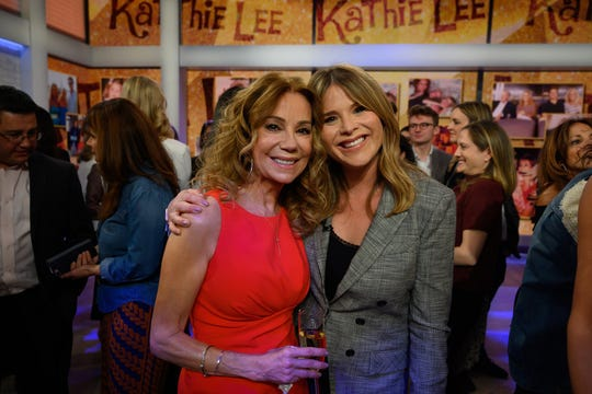 "Kathie Lee Gifford poses with her ""Today"" replacement, Jenna Bush Hager, on her last show on April 5, 2019."
