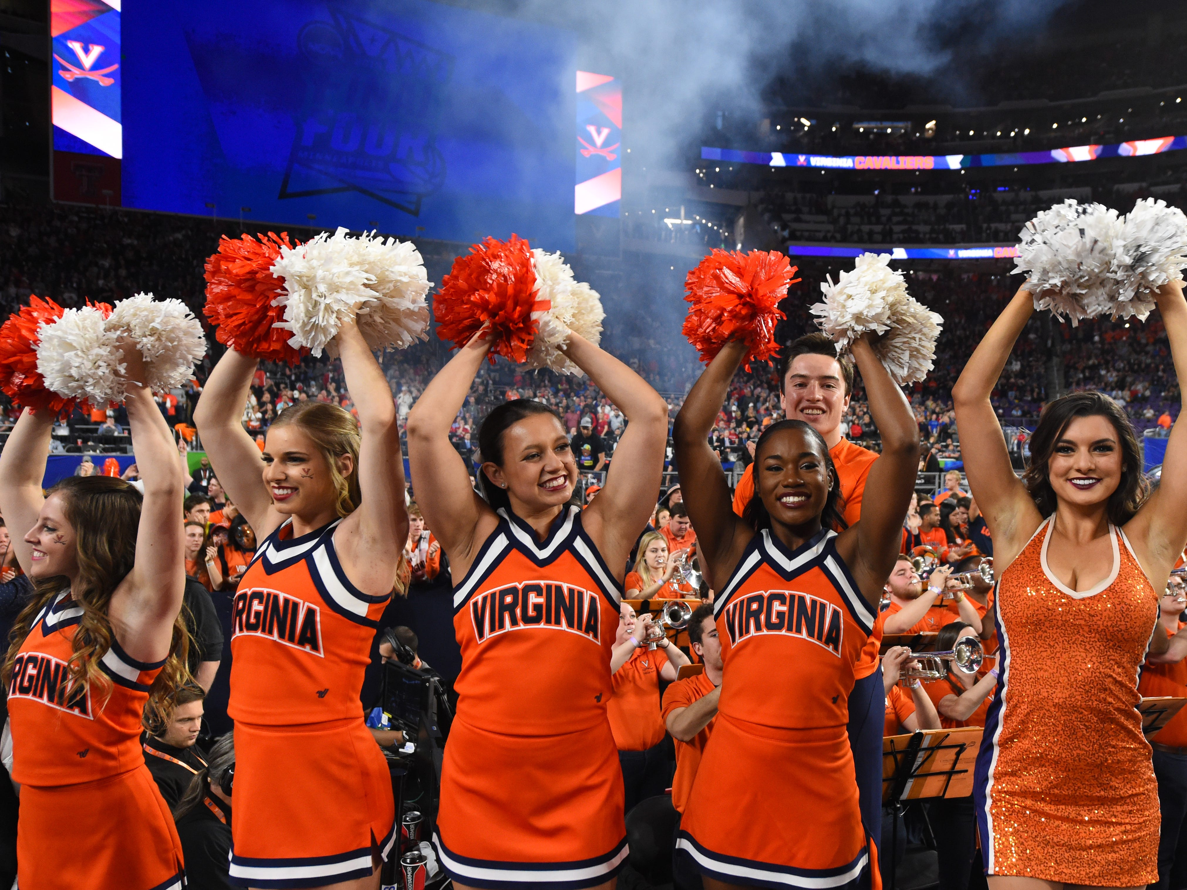 Championship: Virginia Cavaliers cheerleaders perform prior to the championship game at US Bank Stadium.