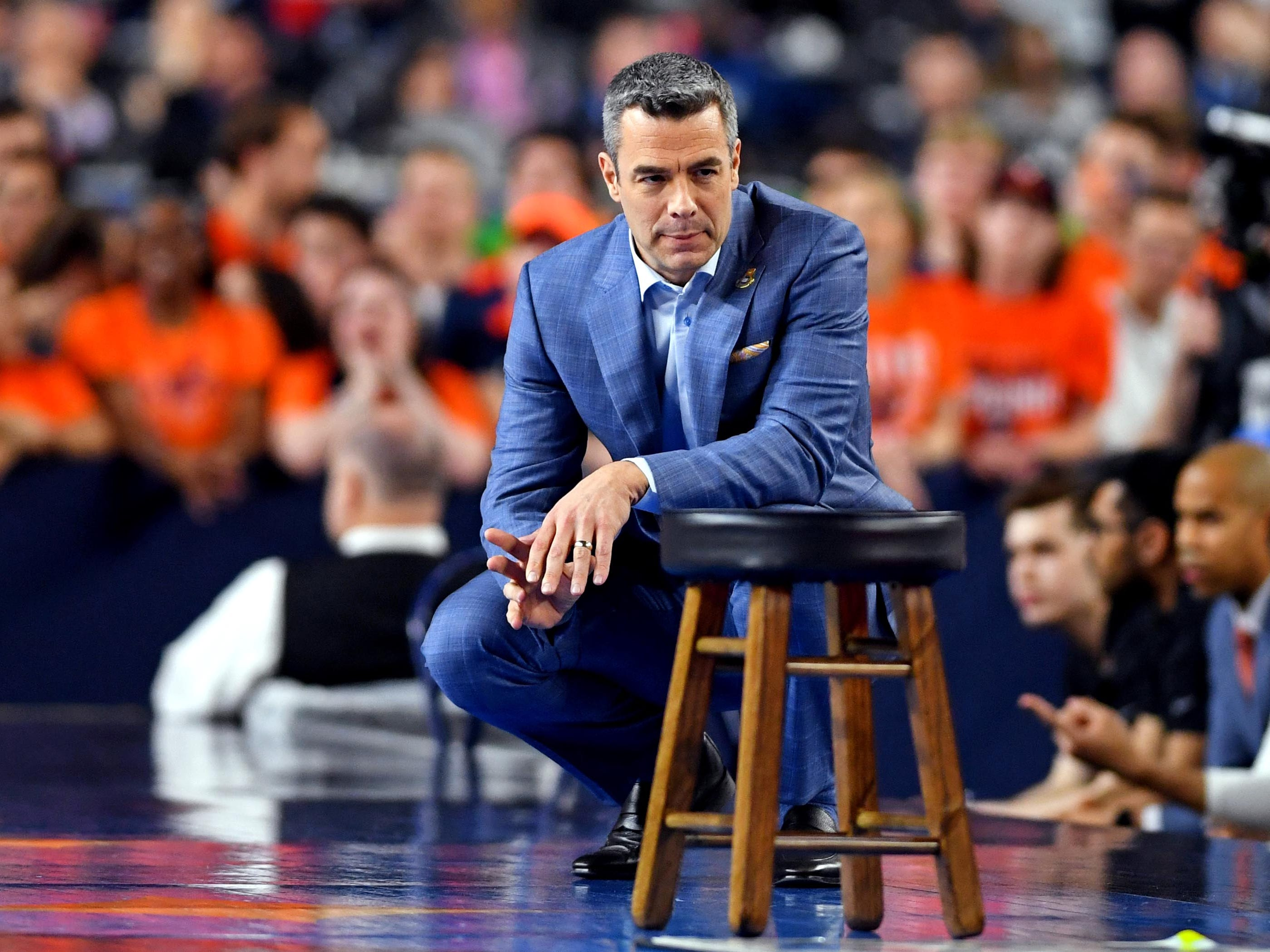 Virginia coach Tony Bennett during the first half against Texas Tech in the championship game.