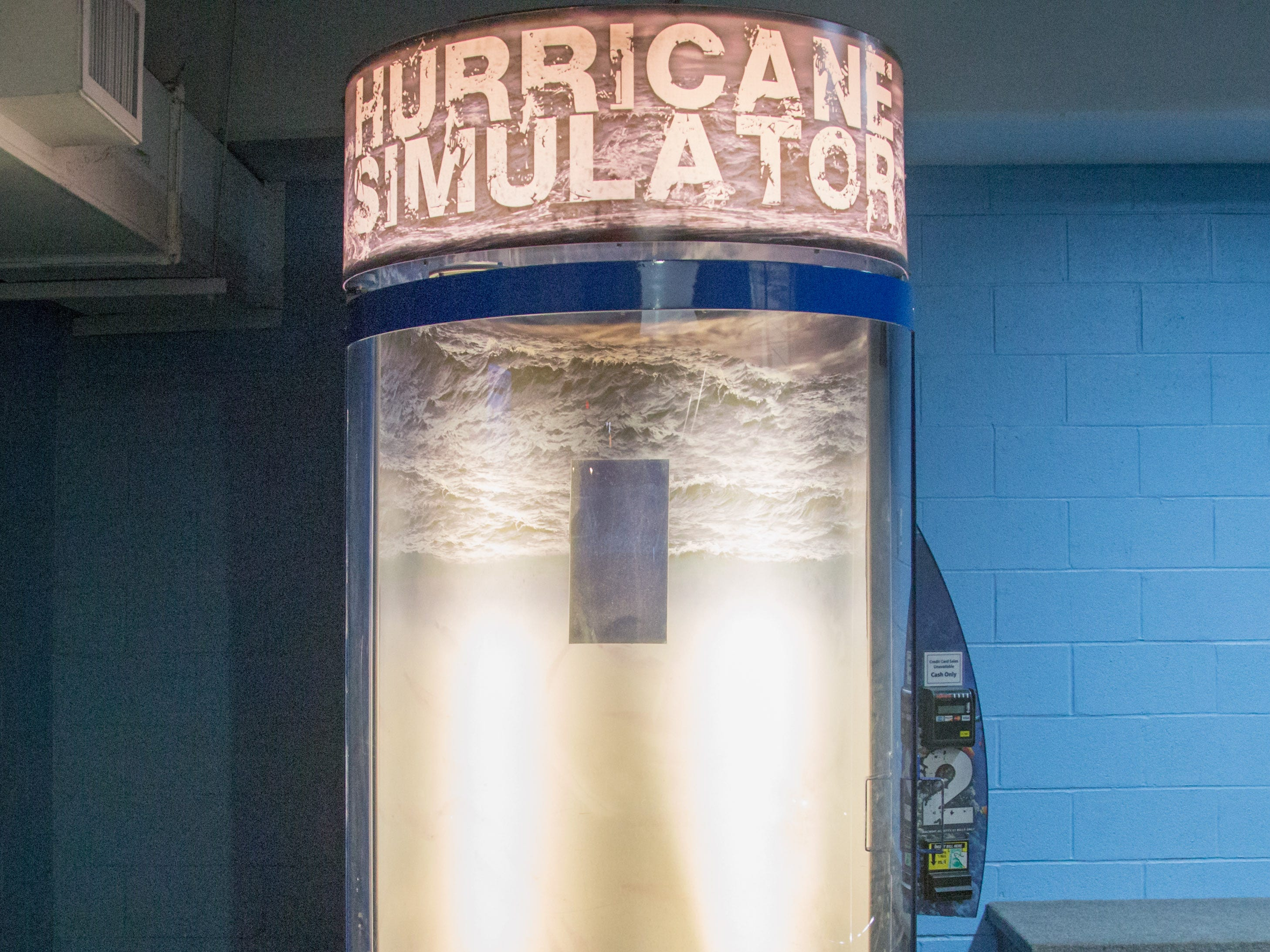 At the North Carolina Aquarium at Fort Fisher, just south of Wilmington, you can step into the Hurricane Simulator and experience what a 78 mph gale – the equivalent of a Category 1 hurricane, like Florence – is like.