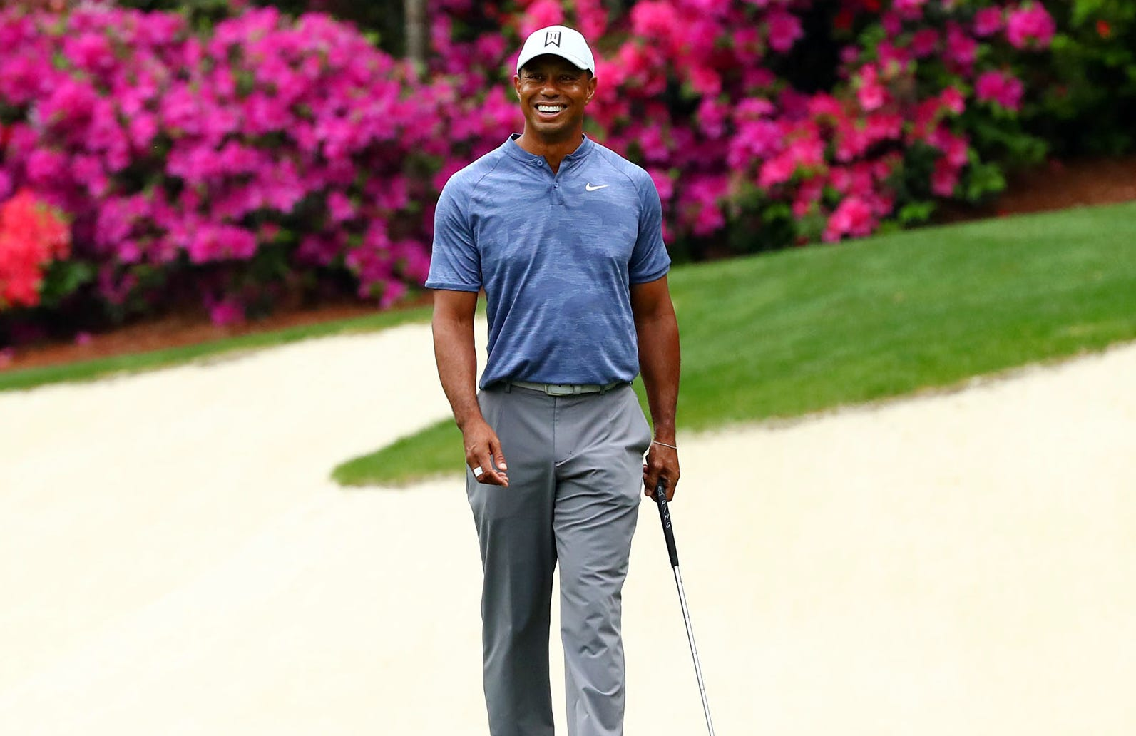 Tiger Woods during a practice round at Augusta.