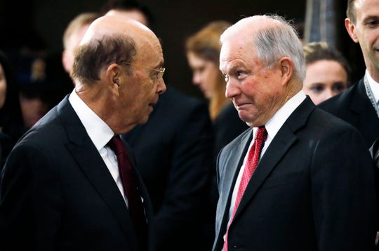 Commerce Secretary Wilbur Ross and Attorney General Jeff Sessions attended ceremonies for the late evangelist Billy Graham in the U.S. Capitol in February 2018, shortly before Ross -- with Sessions' backing -- announced the addition of a citizenship question to the 2020 census.