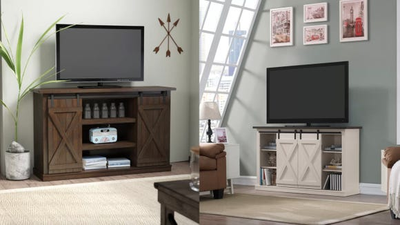 This rustic and modern TV stand is as eye-catching as it is functional.