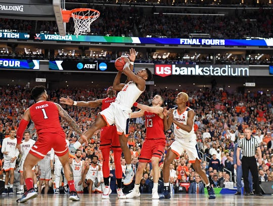 Virginia guard De'Andre Hunter drives to the basket against Texas Tech during the national championship game of the 2019 NCAA tournament.