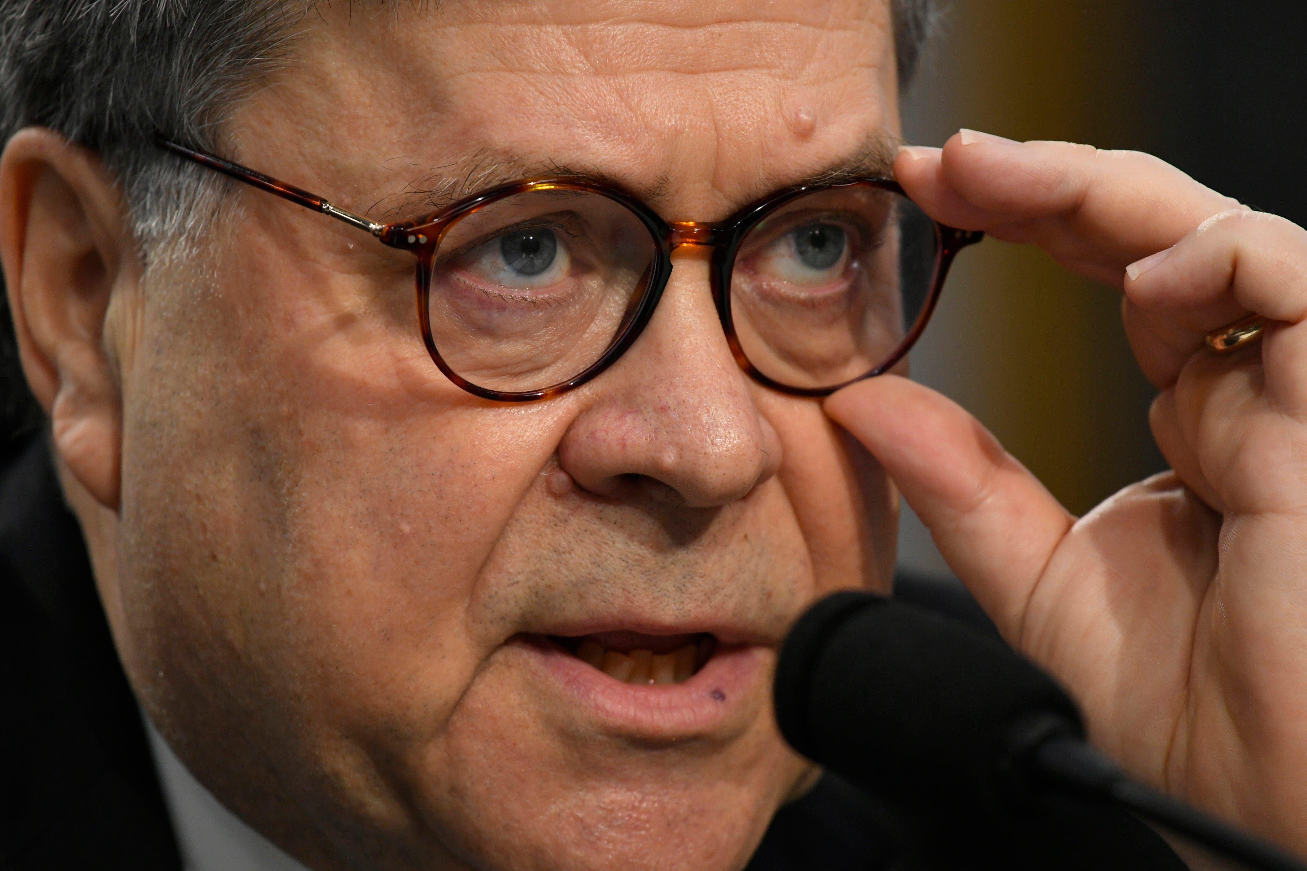 Attorney General William Barr testifies before the House Appropriation subcommittee on Commerce, Justice, Science, and Related Agencies on Capitol Hill on April 9, 2019.