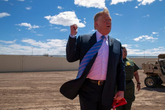 President Donald Trump visits the border wall in Calexico, California, on April 5, 2019.