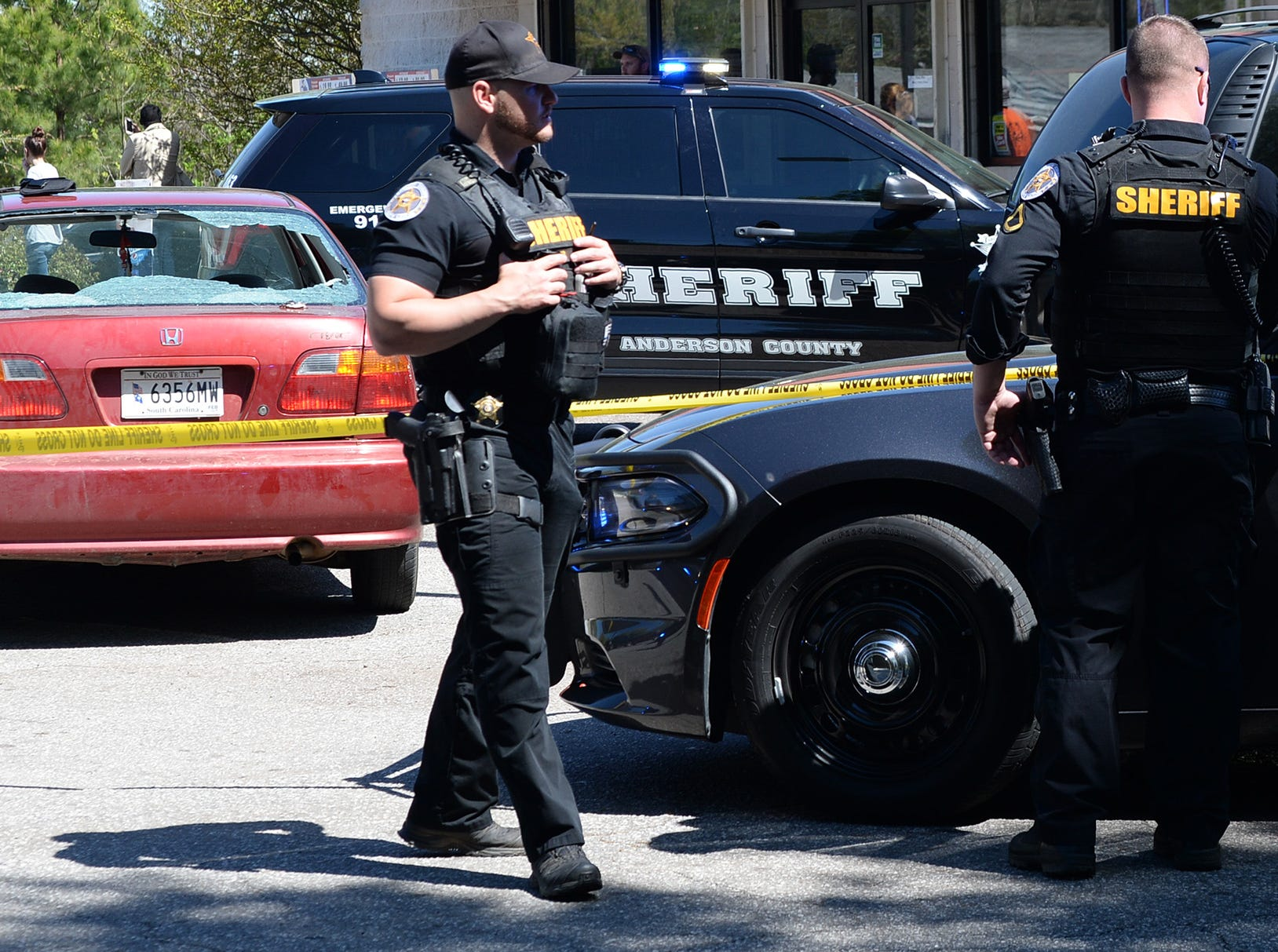 Anderson County Sheriff's Office deputies respond to a shooting at Hilltop Motel on Hwy 29 where two people were reported shot and as many as seven were involved in a dispute Wednesday, April 10, 2019.