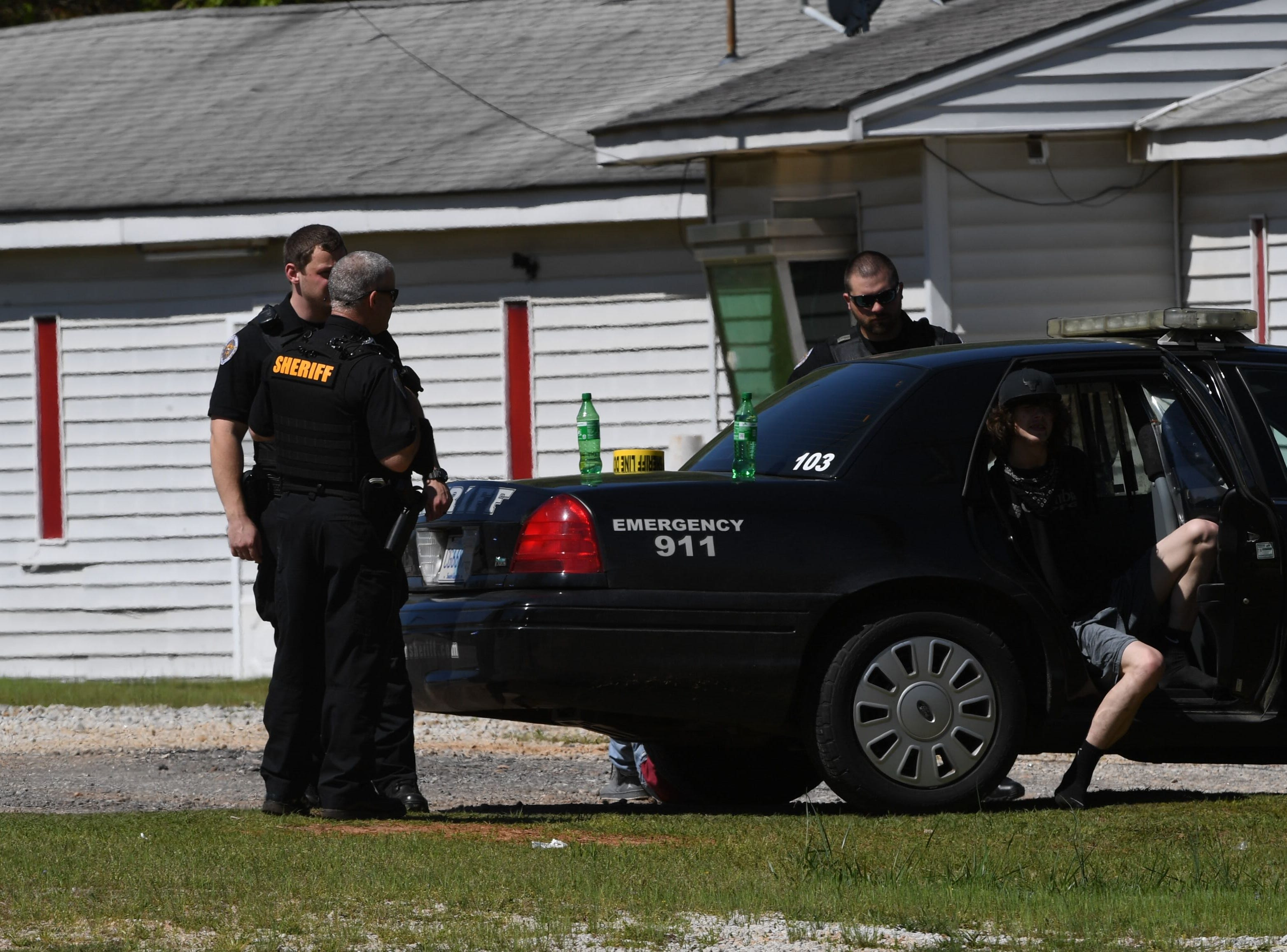 Anderson County Sheriff's Office deputies respond to a shooting at Hilltop Motel on Hwy 29 where one person was reported shot Wednesday, April 10, 2019.