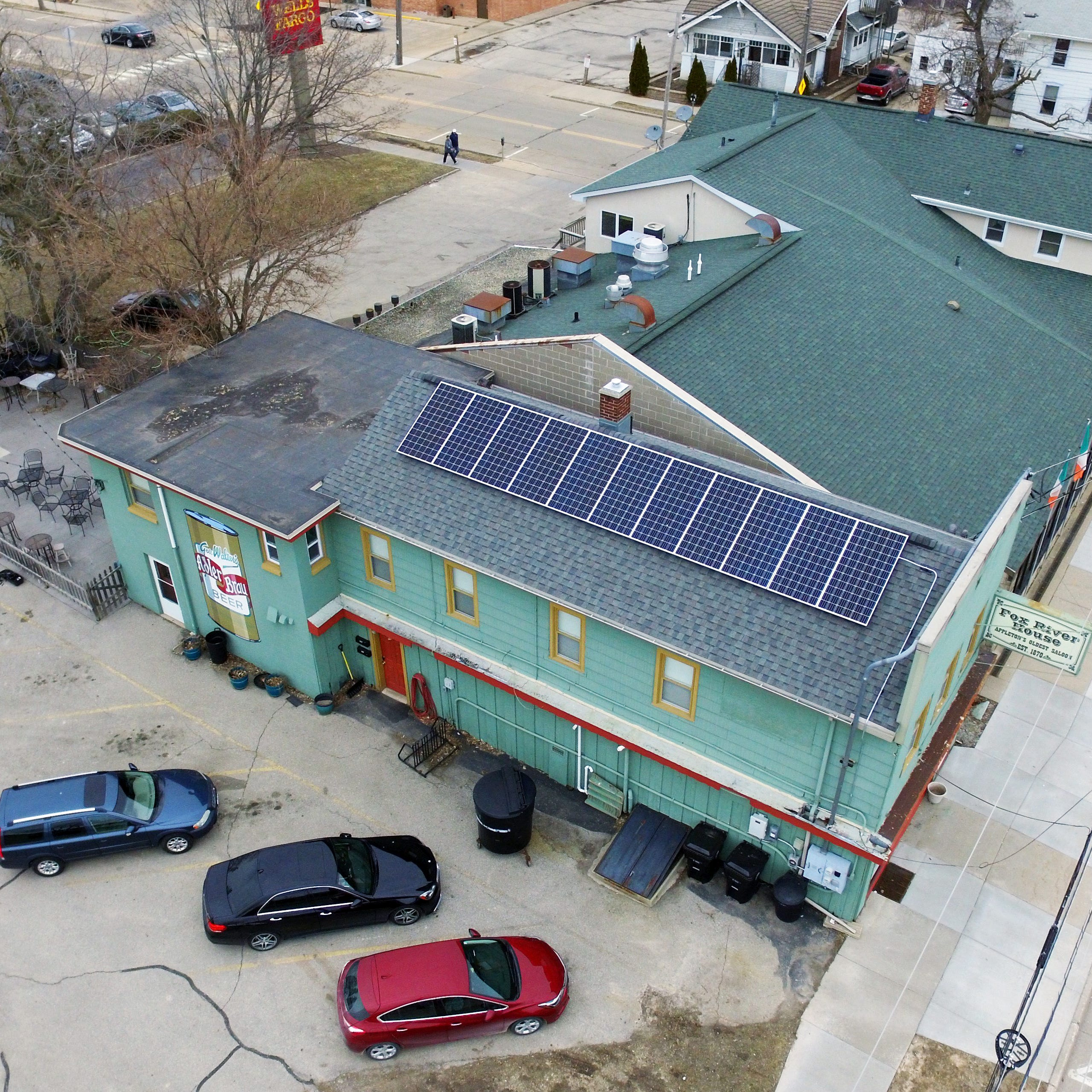 Sunny disposition: Appleton's oldest bar is now partly powered by solar panels