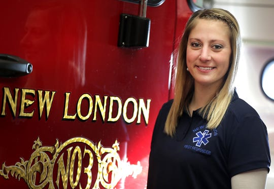 Kayla Schuh, winner of the Health Care Award, at the New London Fire Department.
