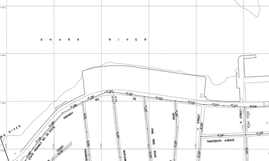 Drawings prepared for Belmar that show where sewer lines run under the surface in the borough. Raw sewage has been leaking in the area of K Street and Route 35. During periods of heavy rain, the human waste will mix with stormwater and rise up from the sewer and into the street, eventually making its way to the Shark River