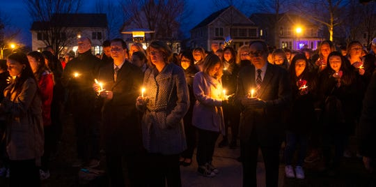 Hundreds attend memorial service at the West Town Center Lake gazebo in Robbinsville, N.J. for University of South Carolina senior Samantha Josephson. Josephson was killed after she mistakenly got into a car which she thought was the Uber ride she called.
