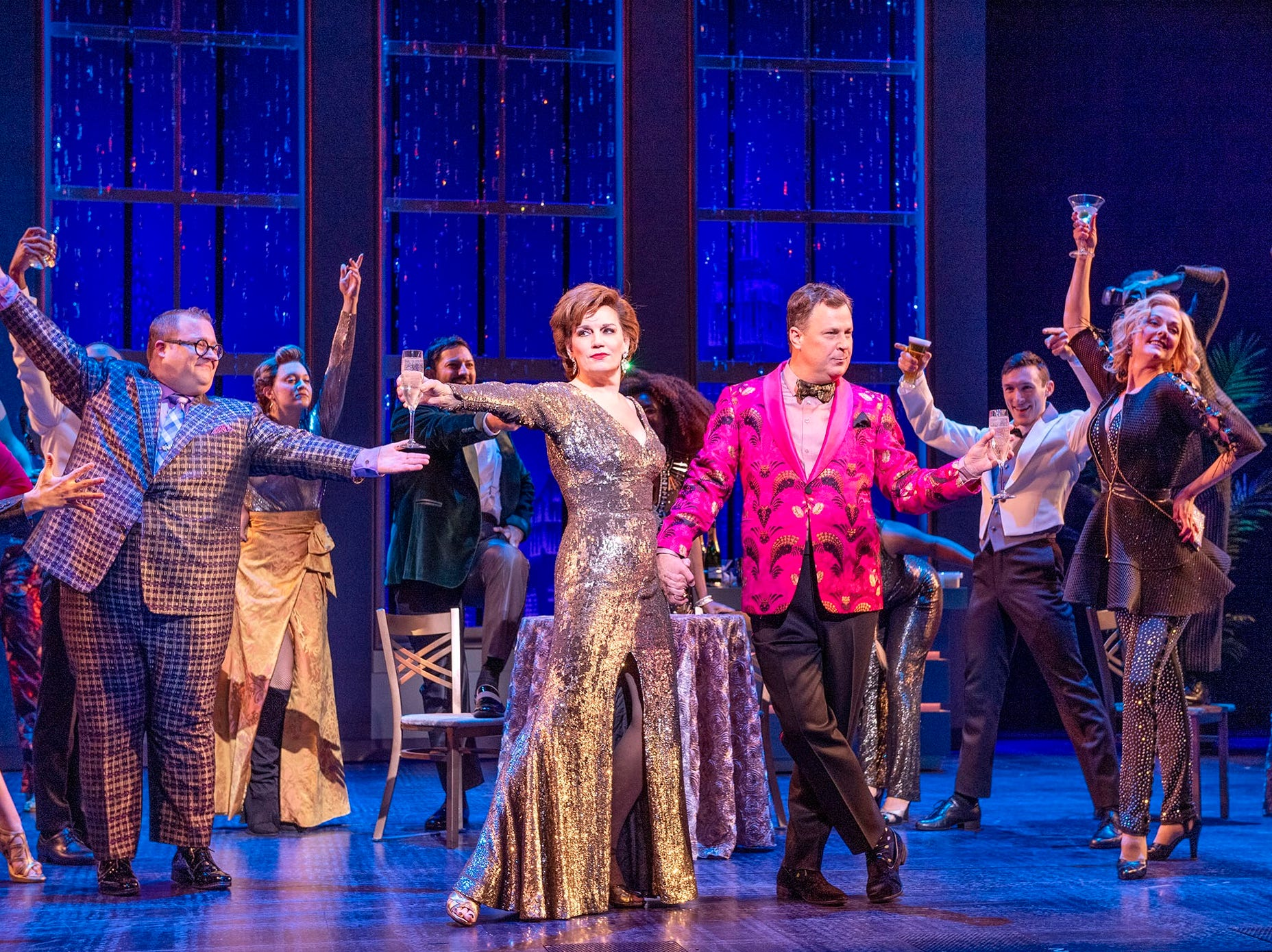 "Josh Lamon, Beth Leavel, Brooks Ashmankasas, Angie Schworer and the cast of Broadway's ""The Prom."""