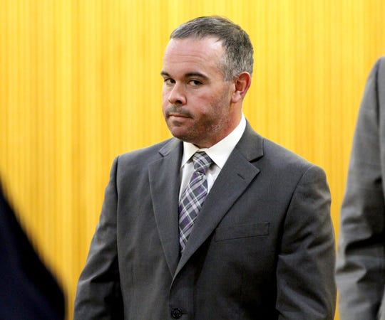 Long Branch police officer Patrick Joyce is shown after pleading guilty to a petty disorderly persons offense related to an assault on a woman at a party. Because of the plea made before Judge Paul X. Escandon in State Superior Court in Freehold Thursday, April 4, 2019, he must forfeit his job.