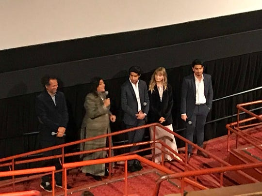 "Sarfraz Manzoor, left, Gurinder Chadha, and the cast of ""Blinded by the Light"" at an April 9, 2019  screening of the film at the Village East Cinema in New York City."