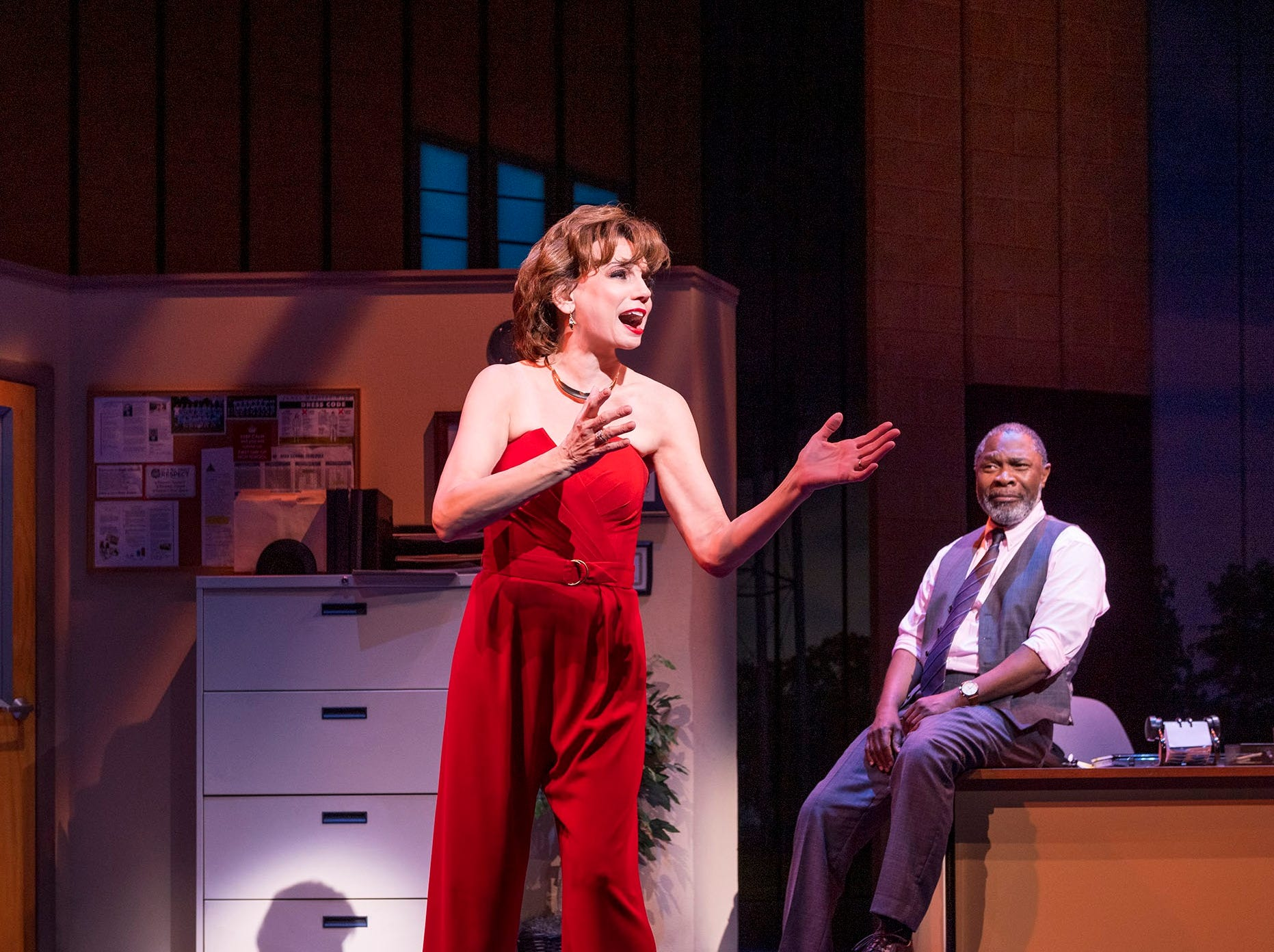"""Beth Leavel and Michael Potts in """"The Prom"""" on Broadway."""