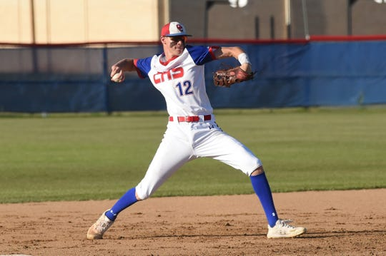 Cooper third baseman Aidan Thompson (12) sets to throw to first for an out against Wylie at Cougar Field on Tuesday, April 9, 2019. The Cougars fell 11-5.