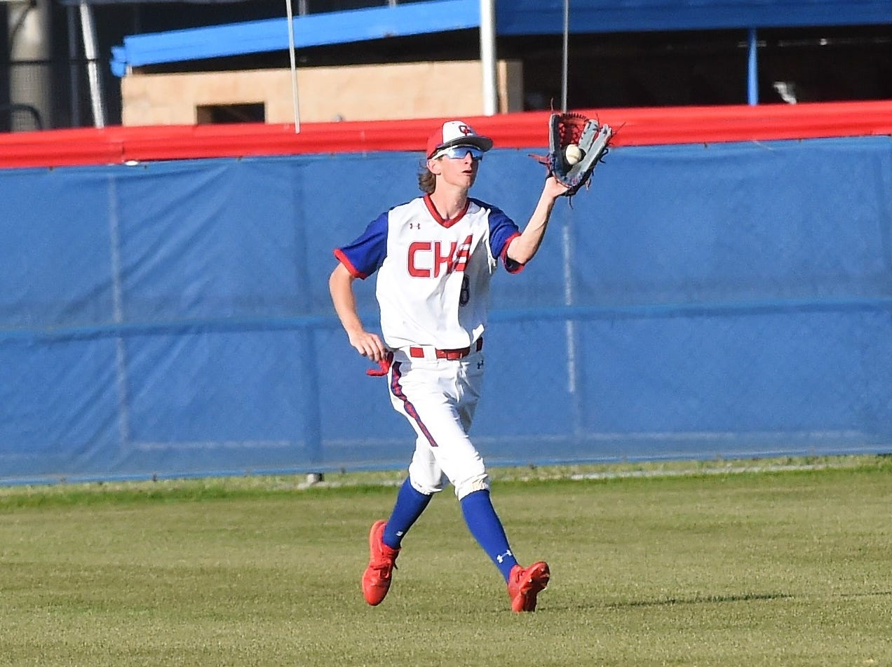 Cooper center fielder Matthew Shira (8) looks in a fly ball against Wylie at Cougar Field on Tuesday, April 9, 2019. Shira scored a run in the 11-5 loss.