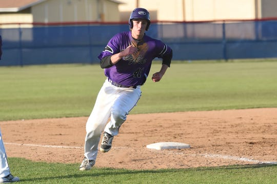 Wylie's Tyler Spears (41) rounds third base and scores at Cooper last week. In the past five District 4-5A games, Spears is 13 of 21 with four doubles, a triple, 14 RBIs and seven runs scored.