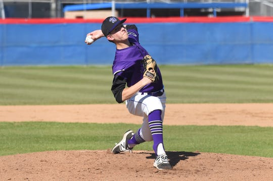 Wylie starter Dash Albus (7) throws a pitch against Cooper at Cougar Field on Tuesday, April 9, 2019. Albus worked 3.1 innings, allowing one earned run and striking out three as the Bulldogs pulled out the 11-5 win.