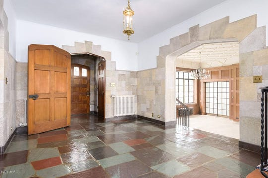 The entryway of the Corlett mansion at 92 Garrison Ave. in Battle Creek.