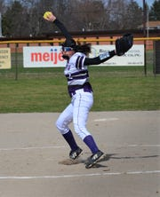 Lakeview pitcher Kaitlyn Love winds up during a contest with Marshall in early-season non-conference action