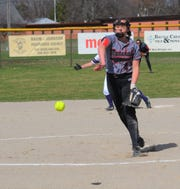 Marshall pitcher Kaylee Gwin throws home during an early-season game against Lakeview.