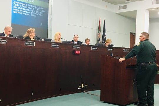 Brevard County Sheriff Wayne Ivey answers the questions of county commissioners about his views on the pet store ordinance.