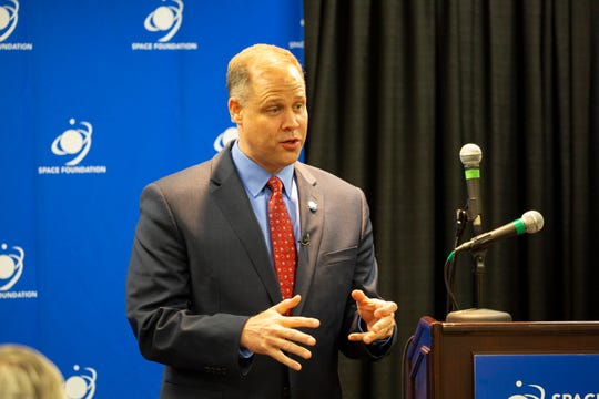 NASA Administrator Jim Bridenstine speaks to the media during a briefing at the 35th Space Symposium in Colorado Springs on Tuesday, April 9, 2019.