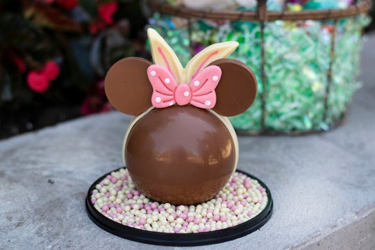 The Ganachery's Minnie bunny piñata is a milk chocolate sphere filled with chocolate Easter eggs, with white chocolate and strawberry crispy pearls.