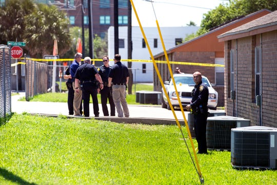 Corpus Christi Police investigate a shooting on the Northside on Wednesday, April 10, 2019. An altercation between two men may have been the cause of a shooting, police said. A man traveling on a bicycle was shot on North Alameda Street near Winnebago Street.