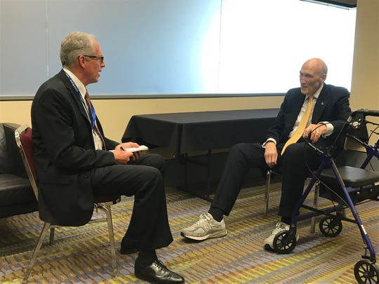Former Sen. Alan Simpson (right) wore comfortable shoes to the Christus Spohn Lyceum, to the envy of his wingtips-wearing interviewer.