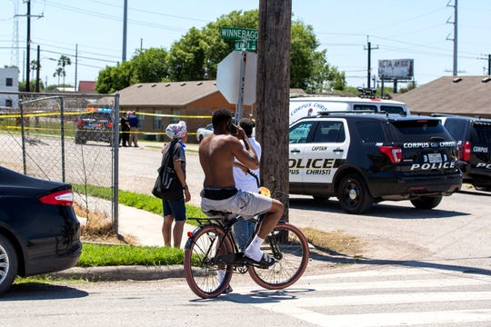 An altercation between two men may have been the cause of a shooting Wednesday, April 10, 2019, in Corpus Christi's Northside, police said. People gathered nearby  where the man was shot on North Alameda Street near Winnebago Street as police investigated.