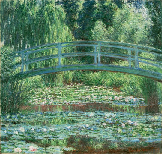 'Japanese Footbridge and the Water Lily Pool, Giverny,' 1899, by Claude Monet. Oil on canvas.