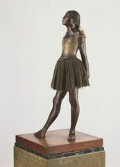 'Little Dancer, Aged Fourteen,' executed in wax 1878-1881; cast in bronze c. 1922, by Hilaire-Germain-Edgar Degas, French, 1834 - 1917. Bronze cast by the foundry Adrien Hébrard, Paris. Bronze, tulle, and silk.