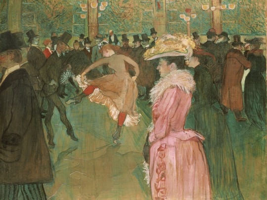 'At the Moulin Rouge: The Dance,' 1889-1890, by Henri de Toulouse-Lautrec, Oil on canvas.