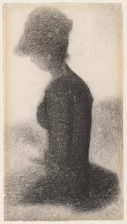 'Seated Woman (Study for 'La Grande Jatte'),' c. 1884-1885, by Georges Seurat. Conte crayon on laid paper.