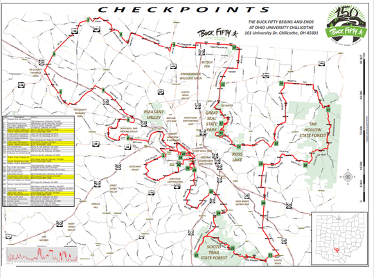 A map showing the entire 150 mile Buck Fifty route that will start on Friday, April 12 at Ohio University Chillicothe