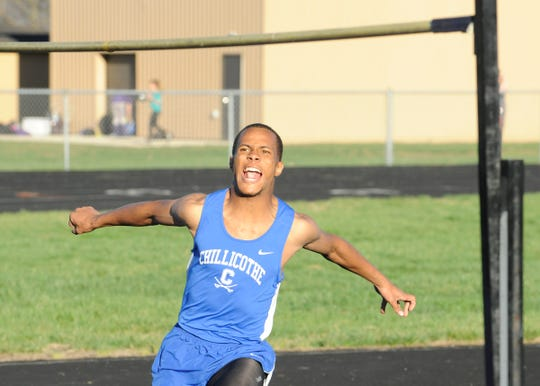 "Chillicothe senior J'Quan Harris took first place in the high jump by clearing 5'8""at a dual track meet at Unioto High School."
