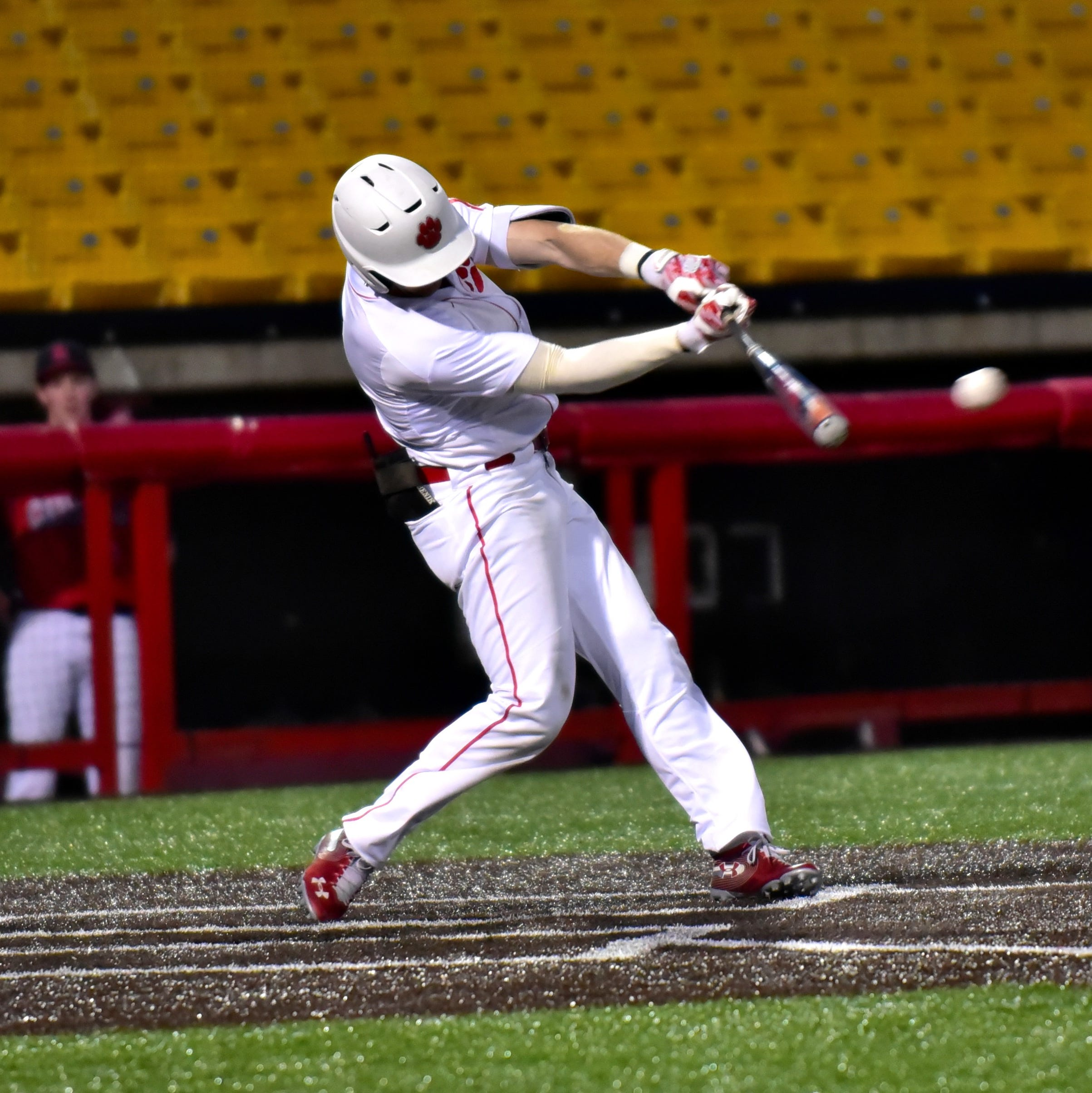 John Odom of Beechwood drives the ball to deep center field adding to the RBI total for the night as the Tigers top St. Henry 10-2 in the championship game of the 9th Region All A Classic Championship played at UC Health Stadium in Florence, KY, April 9, 2019.