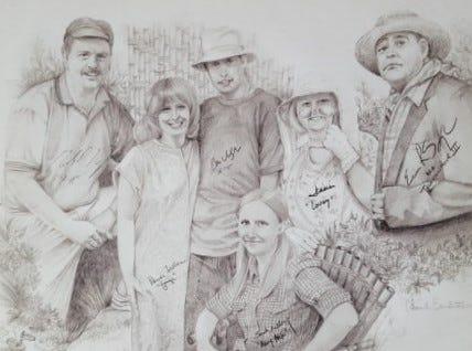 Thom Van Benschoten made this print of employees of The Community Press west office. They were, from left: Mark Motz, Heidi Fallon, Ben Walpole, Sarah Kelley (sitting), Jennie Key and Eric Spangler.