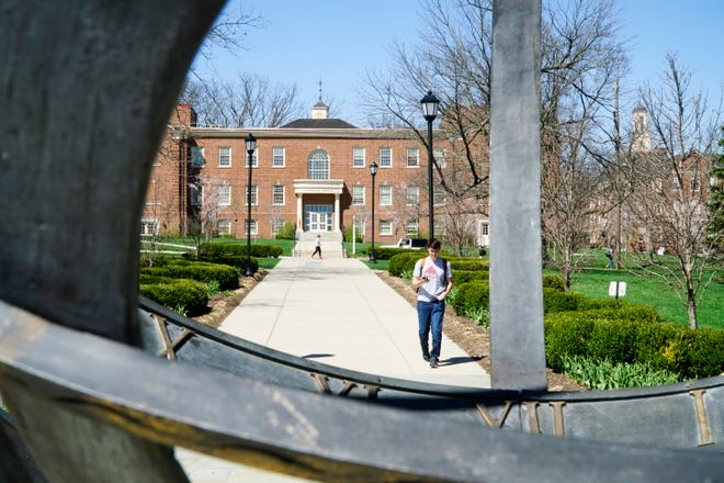 Miami University's campus seen through the sun dial at the north end of Central Quad, April 9, 2019.