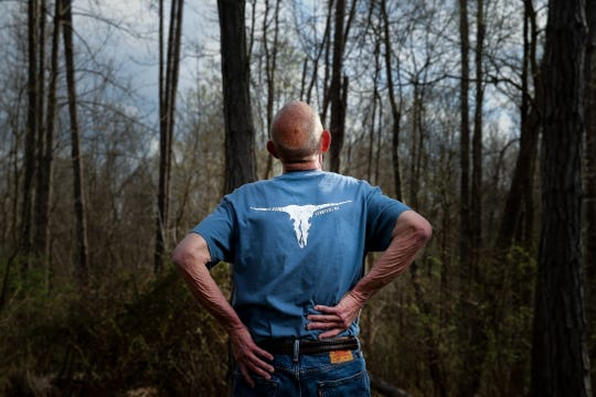 A man, pictured, Monday, April 8, 2019, at Mitchel Memorial Forest in Cleves, Ohio. who wished to remain anonymous, used Paul KorenÕs marijuana to ease back and hip pain so bad he couldnÕt walk, says Koren isnÕt a bad guy.,