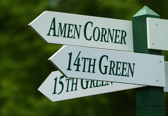 Amen Corner sign near the 16th green during a practice round for The Masters golf tournament at Augusta National Golf Club.