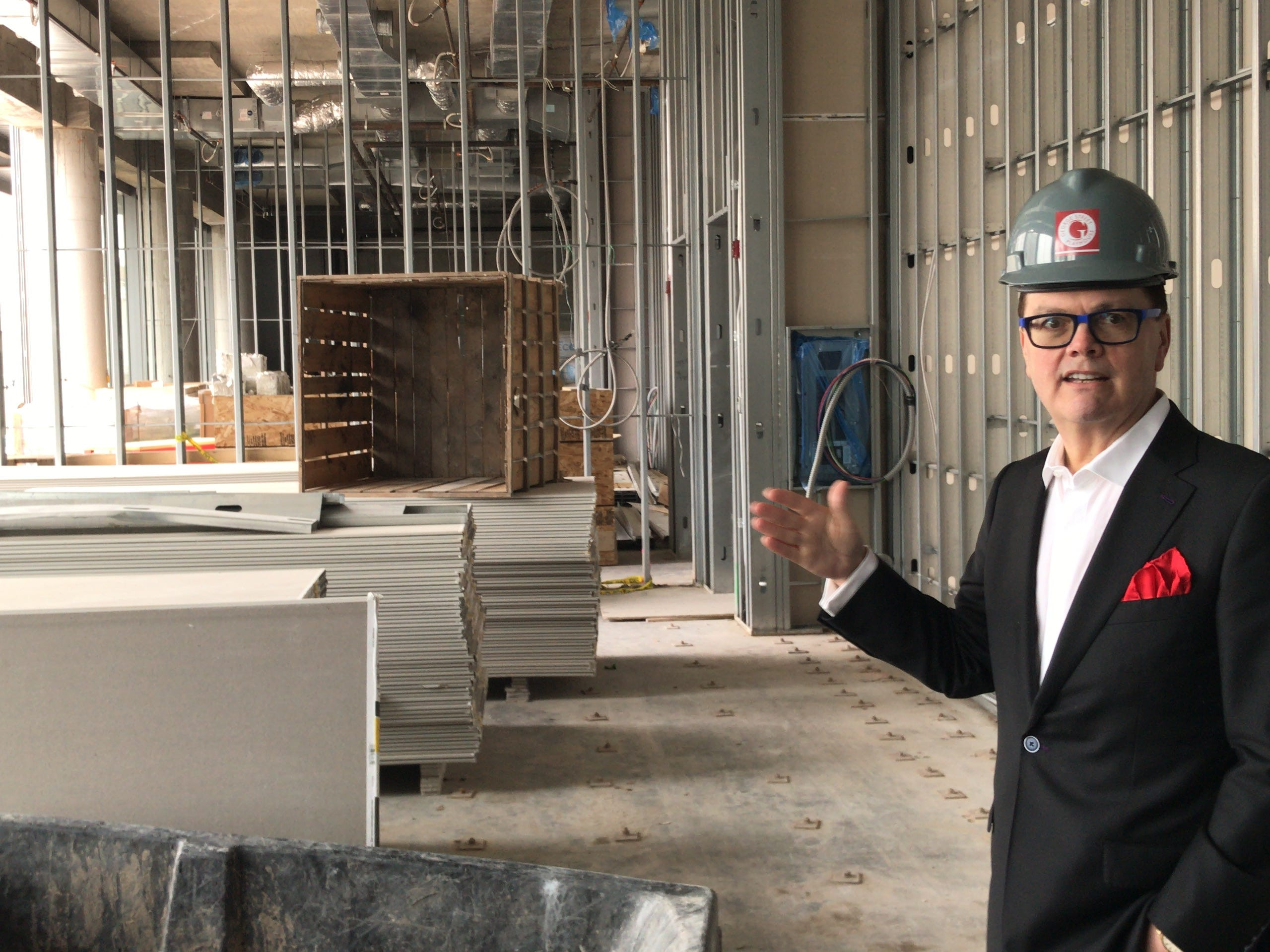 George Street Playhouse Artistic Director David Saint leads a tour of New Brunswick Performing Arts Center, which will open in September. The Playhouse's season will start in October.