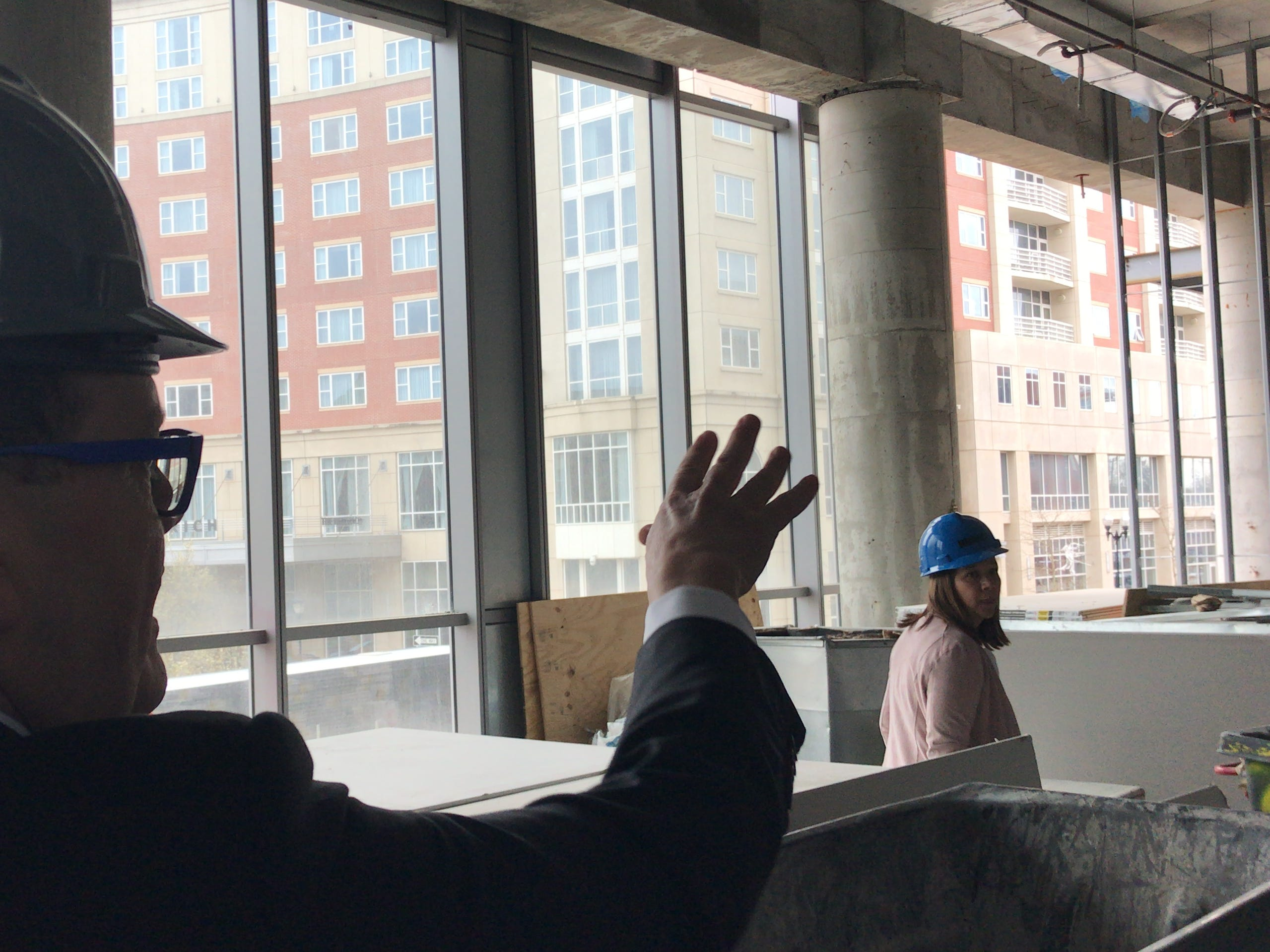 George Street Playhouse Artistic  Director David Saint and DEVCO Vice President Merissa A. Buczny discuss the view from the three large rehearsal rooms at the forthcoming New Brunswick Performing Arts Center.