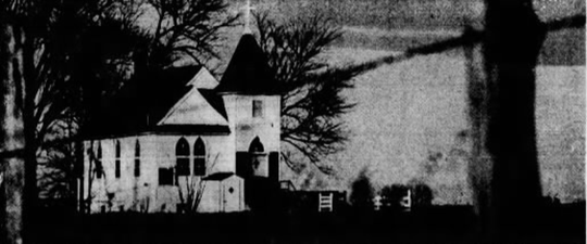The Maple Grove Methodist Church building published in the Des Moines Register on Christmas Day, 1967.