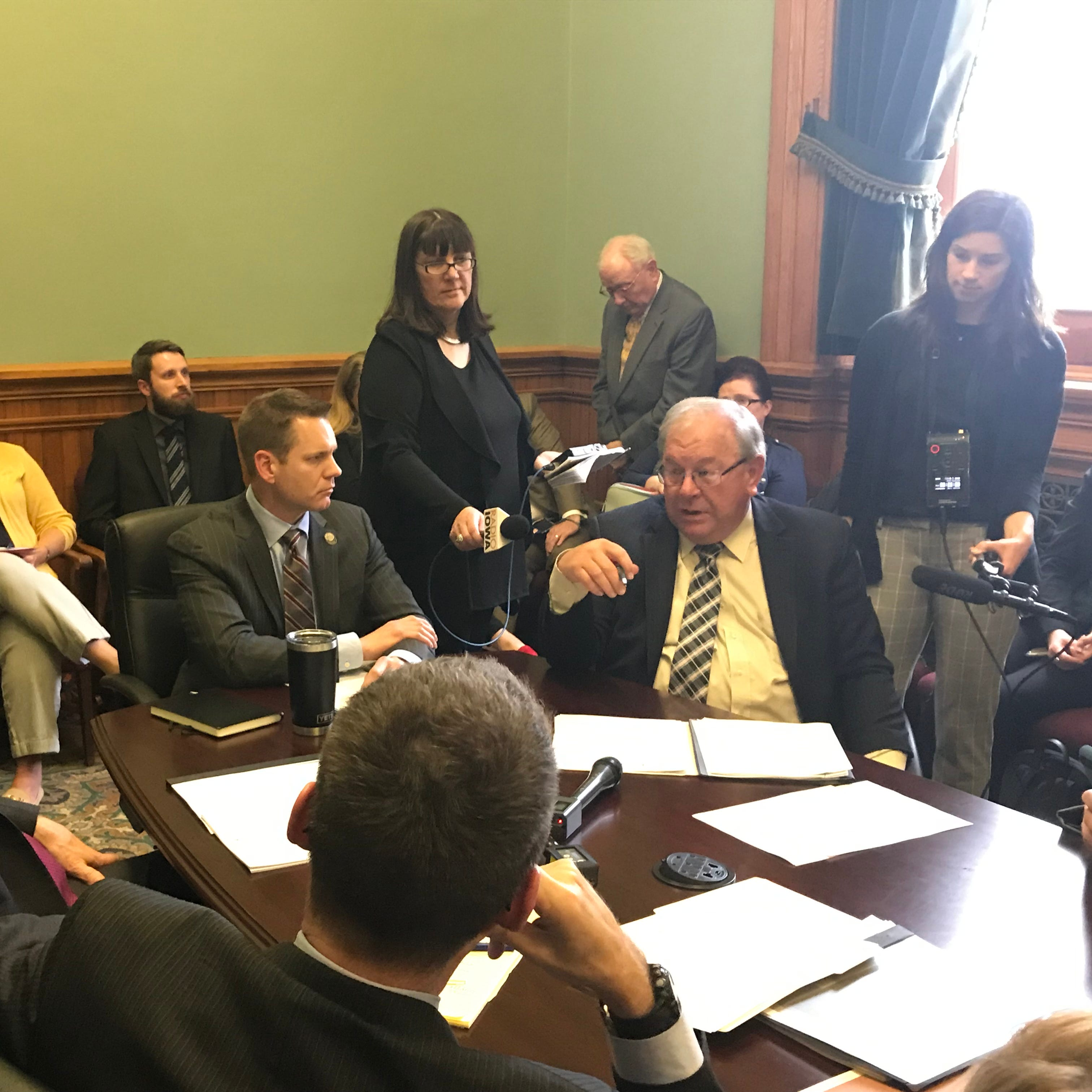 Iowa Sen. Tom Shipley, R-Nodaway, right, speaks about a bill that would prohibit people under 21 from using or buying tobacco products at a subcommittee meeting on Wednesday, April 10, 2019.