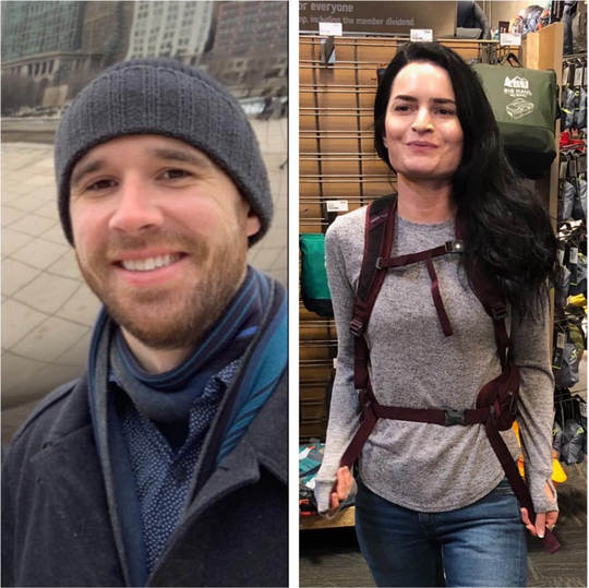 A collage shows the two people missing in California mountains since Saturday. Eric Desplinter, right, and Gabrielle Wallace